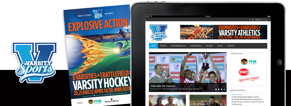 Varsity Sports - online presence [web, mobile optimised site, social media strategy / coverage of events]